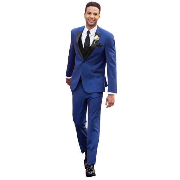 2019 Handsome Clothes Mens Two Pieces Slim Fit Groom Wear One Button Peaked Lapel Men's Clothing Tailor Suits Set(Jacket+Pant)