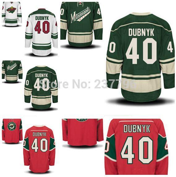 watch 4c5fe 49ef5 Minnesota Wild #40 Devan Dubnyk Jersey Ice Hockey Green Red White Devan  Dubnyk Minnesota Wild Jerseys All Stitching Top Quality