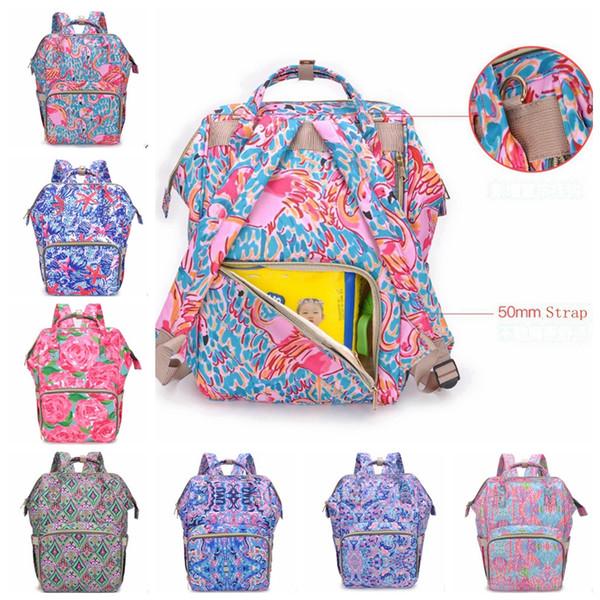 Zaini Mummia Flamingo Floreale Borse per pannolini per bambini Lily Nappy Maternity Zaino Designer Borsa infermieristica Baby Care Tote 8 Ultimi Disegni YW2245