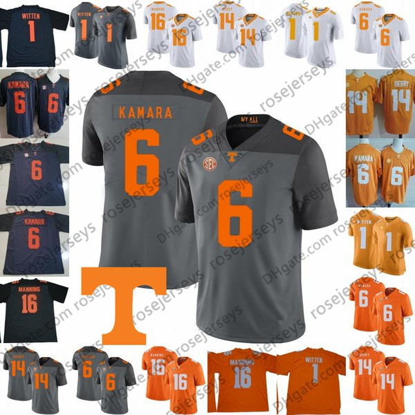 Benutzerdefinierte Tennessee Volunteers # 6 Alvin Kamara 16 Peyton Manning 1 Jason Witten 14 Eric Berry Orange Grau Weiß 2019 NCAA Football Vols Trikot