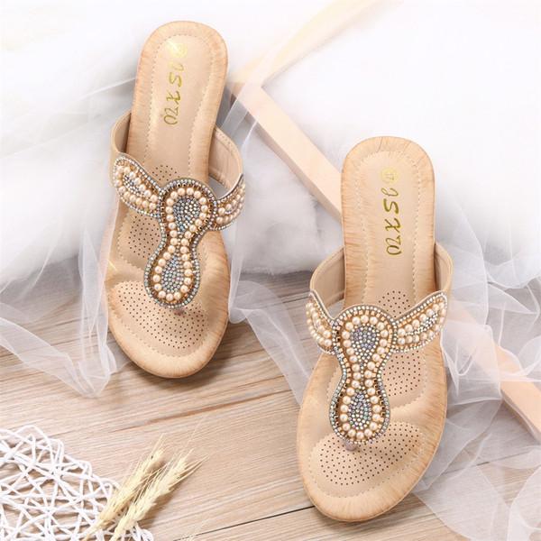 JAYCOSIN Fashion Women's Slipper WomenLadyBohemia Bling Crystal Flat Flip Flop T-type String Bead Shoes Summer Shoes MAY23