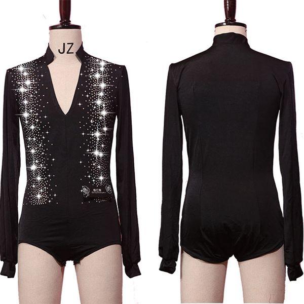 Prickelnde Strasssteine Latin Dance Tops Shirts Herren V-Ausschnitt Tanz Shirt Gesellschaftstanz Kleidung Herren Turnierkostüm