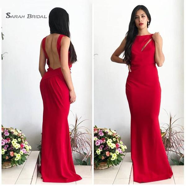 2019 Red Sexy Backless Satin Mermaid Abendkleid Ärmellos High-End-Anlass Vestidos De Novia Party Kleid