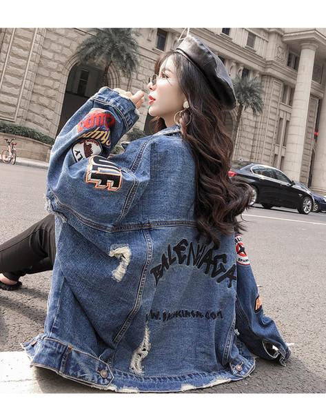2019 Spring Auturn letter Crop Denim Chaquetas Mujeres Casual Jeans Bomber Jacket Manga larga Denim Coat Plus Size