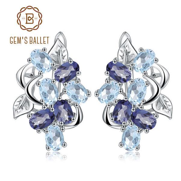 Edelstein Ballett Multicolor Natürliche Sky Blue Topaz Mystic Quarz Stud 925 Sterling Silber Blume Ohrringe Für Frauen SH190715