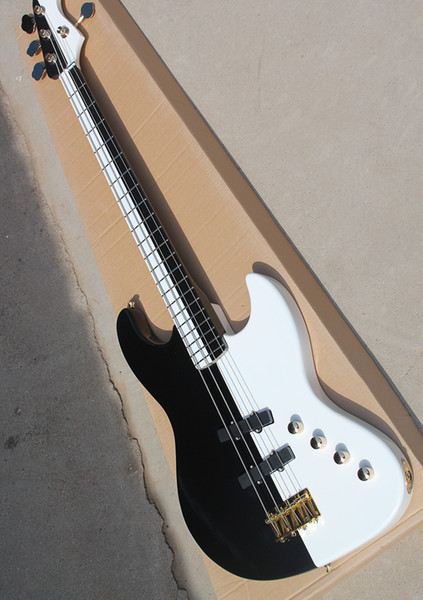 White and black electric bass guitar with gold hardware, maple fingerboard, 4 strings, 21 volts, personalized service