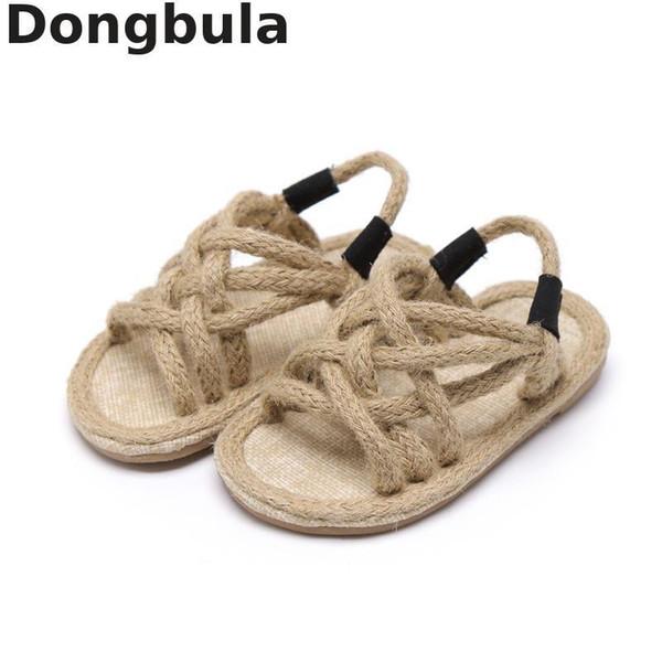 2019 sommer kinder Hanfseil Sandalen Für Jungen Mädchen Weichen Boden Römischen Schuhe Kinder Offene spitze Sandalen rutschfeste Baby Freizeitschuhe Y190525