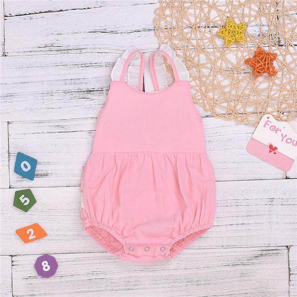 Sommer-Baby scherzt Kleidung beiläufige ärmellose Riemen-Spielanzug-Overalls Baby-kriechende Kleidung scherzt Entwerfer kleidet Mädchen JY363