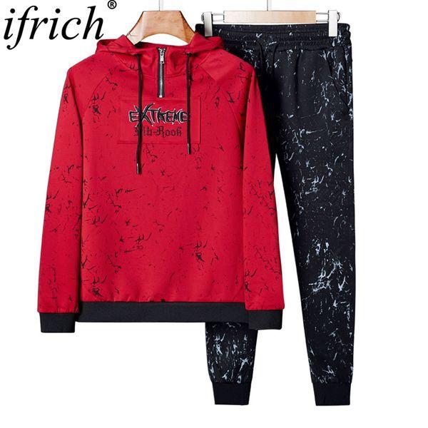 Новая весна осень мужская повседневная толстовки наборы мода из двух частей наборы пуловер толстовка + брюки спортивная одежда костюм мужской толстовки размер L-4XL