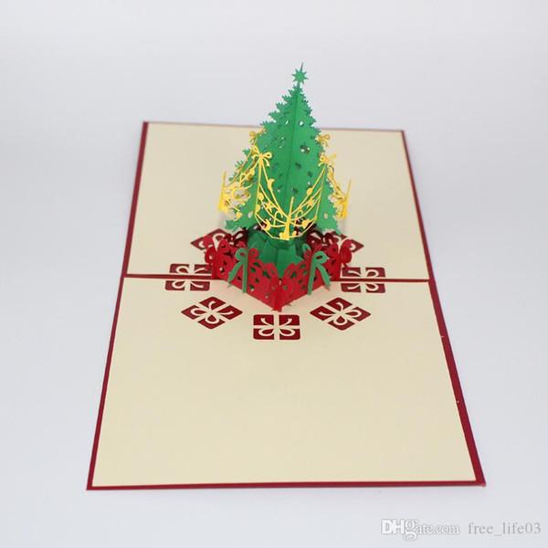 Compre Tarjetas De Invitación Para El árbol De Navidad Tarjetas De Felicitaciones En 3d Tarjetas De Papel Rojas Regalo Para Familiares Amigos Eventos