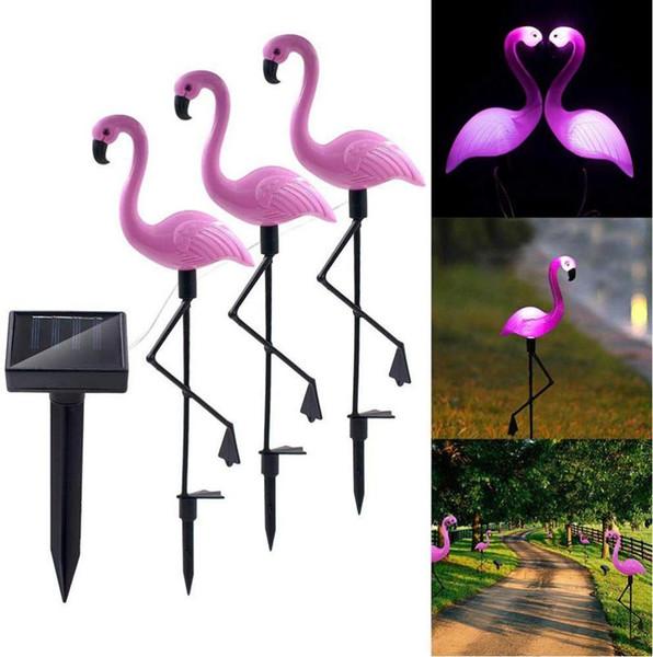 3Pack Solar-Flamingo Stake Bodeneinbauleuchte Laterne Solarbetriebene Pathway Beleuchtung im Freien wasserdichten Garten dekorative Lawn Yard-Lampe