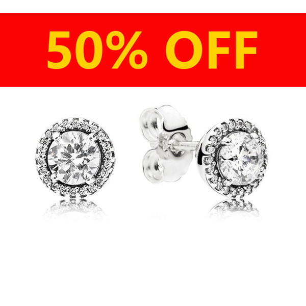 Frauen Luxus Modeschmuck Designer Ohrringe Original box Für Pandora 925 Sterling Silber Kristall Diamant Womens Bolzenohrrings