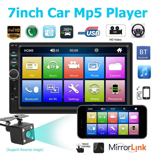best selling 7 Inch 2 Din Bluetooth Car Mp4 Mp5 Car Radio Video Player Mirror Link Steering Wheel Control Rear View Camera Optional
