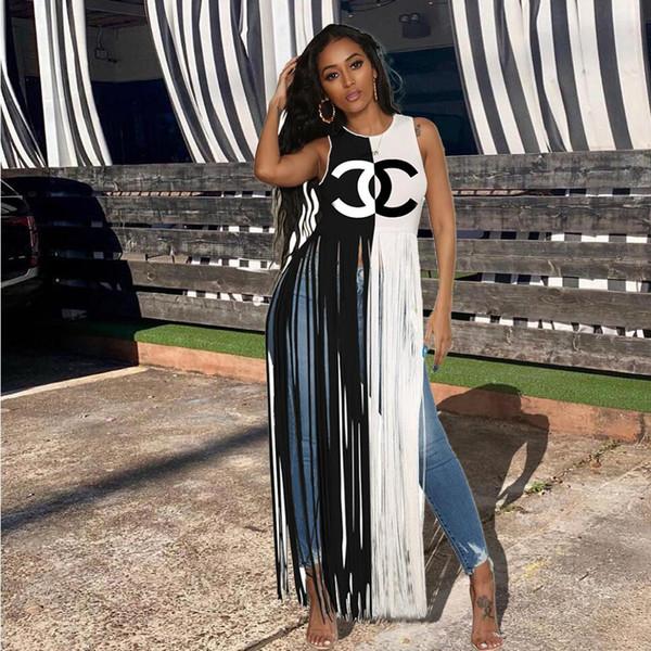 Nuevas mujeres de la llegada de contraste de impresión en blanco y negro camisetas sin mangas atractiva borlas de cuello redondo camisetas de la moda de verano Tops Ropa