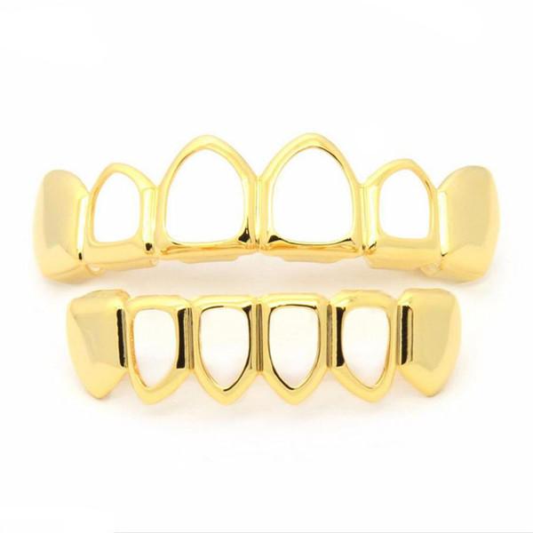New Hip Hop Teeth Grillz Hollow Top & Bottom Fangs Bottom Grillz Set Vampire Grills Sets Gold Bling Hollow Bloodsucker Tooth Caps