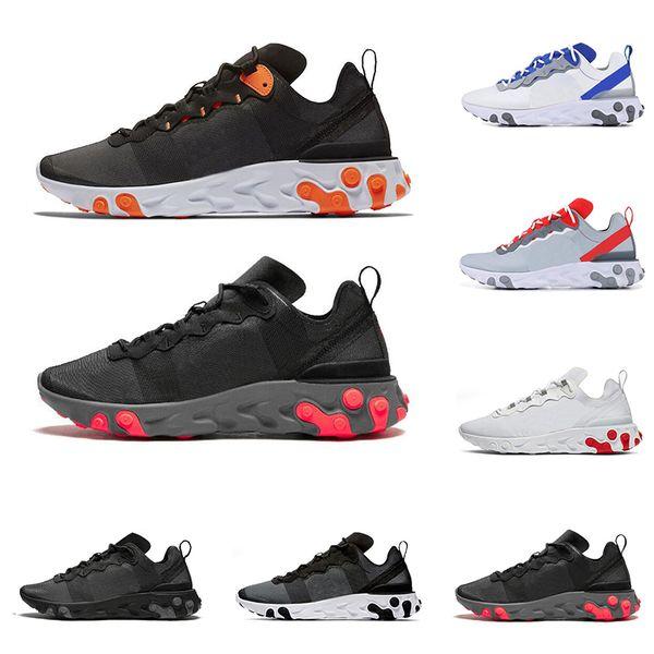 Gros React Element 55 hommes femmes chaussures de course triple noir métallisé Or Solar Rouge Total Orange mode hommes formateurs baskets de sport