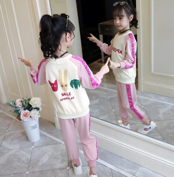 2019 New Autumn Clothes for Children, Sports and Leisure Two-piece Girls'Children's Clothes Factory Direct Selling
