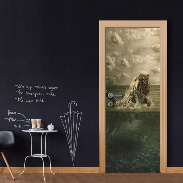 Wholesales DIY Door Sticker Tiger Catch Fish Door Decal for Bedroom Living Room wallpapers Decal home accessories