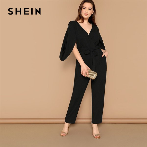 2019 Plus Size Women Black V Neck Cape Sleeve Tailored High Street Jumpsuit Office Lady Cutout Sleeve Belted Solid Jumpsuits C19041001 From