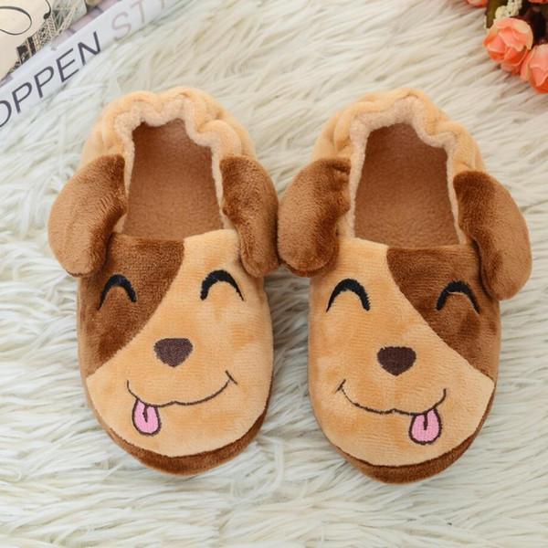 Bebê Casa Bonito Sorriso Doggy Chinelo Quente Suave Moda Interior Chão Chinelos para o Menino Meninas Crianças Sapatos Dos Desenhos Animados Crianças Chinelos