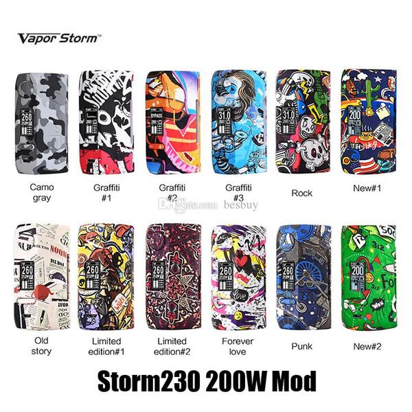 Authentic Vapor Storm Storm230 200W TC VW Box Mod Dual 18650 Battery Vape Mods For Original 510 Thread Sub Tank 100% Genuine
