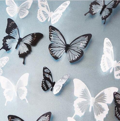 18 adet / grup 3d Etkisi Kristal Kelebekler Duvar Sticker Çocuk Odası için Güzel Kelebek Duvar Çıkartmaları Ev Dekorasyon Duv ...