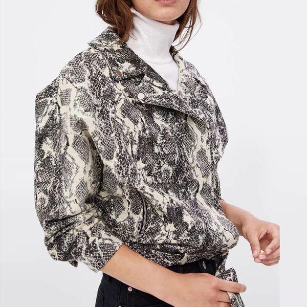 Ceketler Palto Yıpratma Kadın Ceket Yılan Baskı Beyzbol Bluz fermuar Yaka Yaka Şort Mont Ceket Turn-down Yaka # PL1677