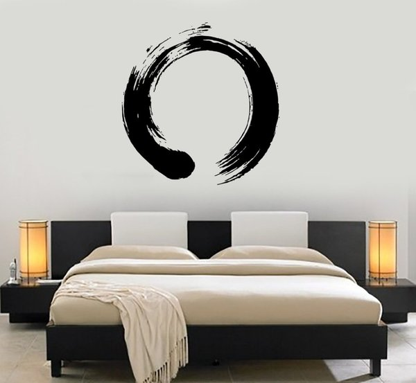 Personality Pattern Vinyl Wall Decal Wall Circle Enso Zen Calligraphy Japan Nirvana Stickers For Living Room Bedroom