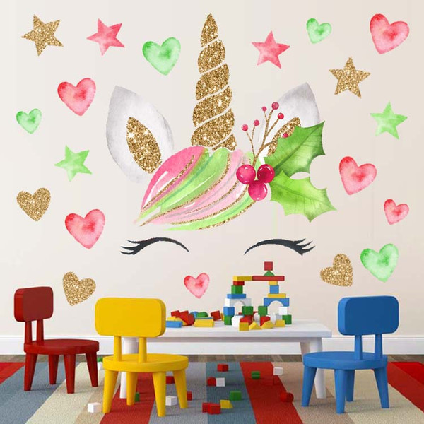 28cm X 28cm Children Cartoon Unicorn Wall Sticker Baby PVC Removable  Waterproof Art Home Decor Wall Stickers Kids Bedroom Decorations Modern  Wall ...
