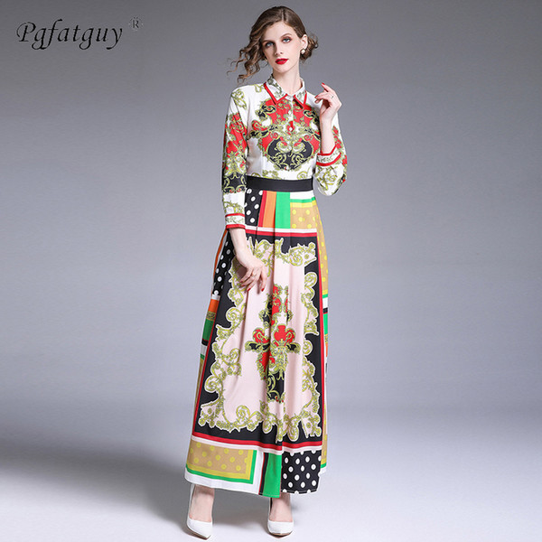 High Quality 2019 Summer New Runway Maxi Dress Women's Long Sleeve Ankle Length Party Floral Printed Hit Color Sexy Long Dresses
