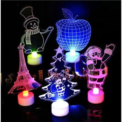 best selling Xmas LED Night light 3D Flashing Colorful table lamp Christmas tree Santa Claus snowman tower Lamps&Shades