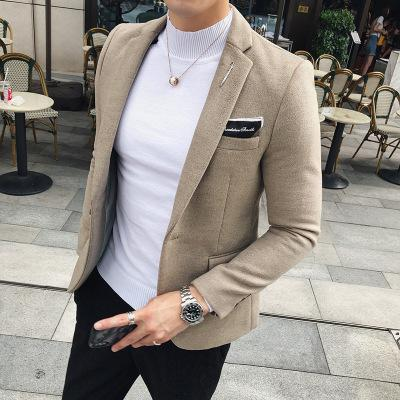 gelgit yakışıklı ceket gündelik elbise erkek gömleği 2018 ilkbahar ve sonbahar yeni yün küçük takım elbise erkek gençlik İnce Kore versiyonu