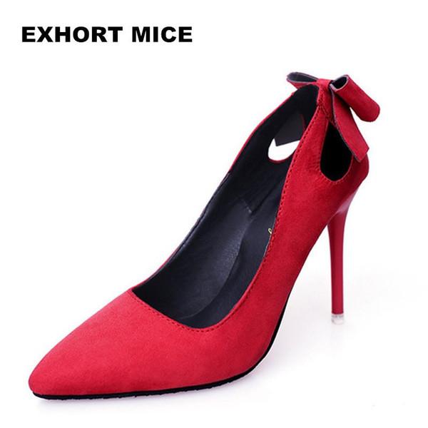 Tasarımcı Elbise Ayakkabı Yüksek Topuklu Kadın Süet Deri Kadın Pompaları Ince Başak Topuk Sivri Burun Bahar Kelebek-düğüm 10.5 Cm