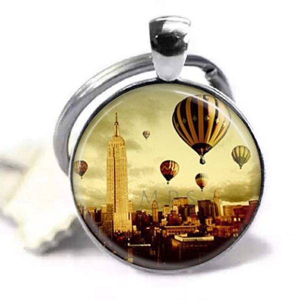 Нью-Йорк брелок Нью-Йорк Эмпайр Стейт Билдинг воздушный шар путешествия искусство, стекло искусство ювелирные изделия картина кулон фото кулон