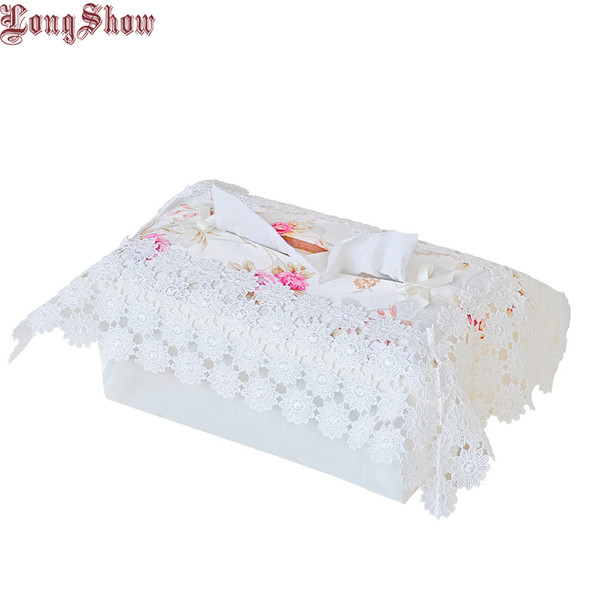 Free Shipping Creative Home Hotel Table Decorative Embroidered Lace Tissue Box Case Cover C19042101