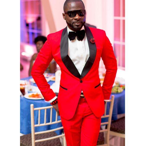 Red Groomsmen Best Man Suit Shawl Lapel Wedding Tuxedos Jacket+Pants Custom Groom Wedding Suits Mens 2 Pieces Suits for Wedding