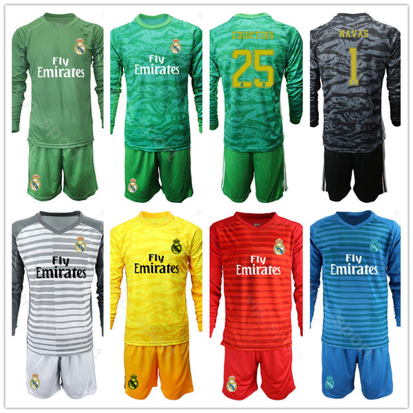 Goalie Long Sleeve Real Madrid Alphonse Areola 1 Iker Casillas Jersey Keylor Navas 13 Thibaut Courtois Goalkeeper Soccer Shirt Football Kits