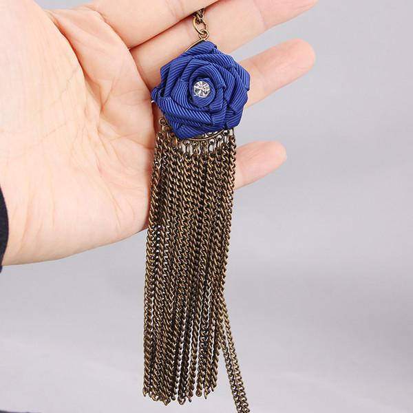 Quasten stieg Anhänger Pullover lange Halskette für Frauen böhmischen Chokers Mode Bronze Königin schwarz Schmuck Strass Ornament