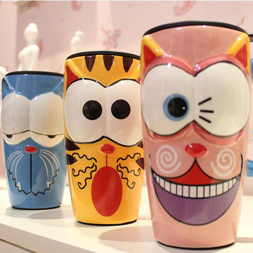 Novel Painted ceramic cups Mugs creative fashion mark cup with lid with spoon coffee milk cup large capacity cartoon cup Drinkware gifts