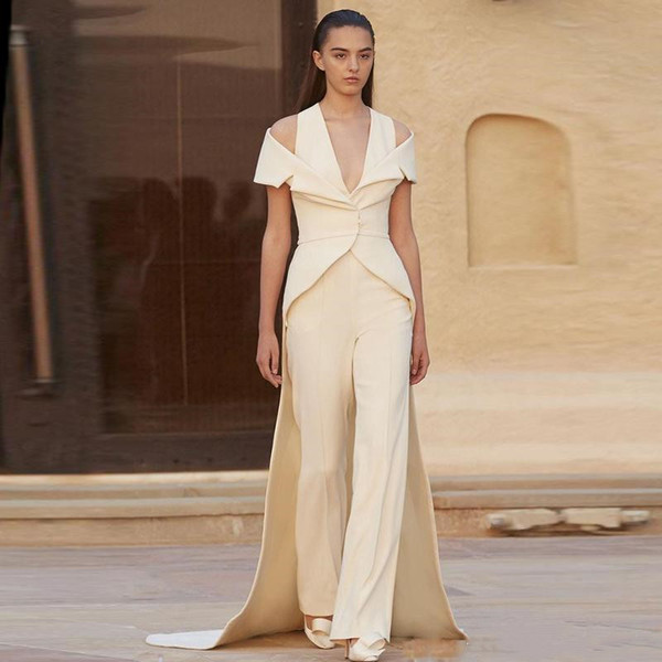 Elegant Two Pieces Jumpsuits Dresses Evening Wear with Long Wrap Train New 2019 Women Dress V Neck Straps Off Shoulder Prom Party Gowns