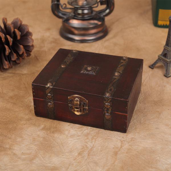 Hot Sale RetroAntique Decorative Gift Box Double Belt Wood Storage Box Wooden Jewelry Storage Organizer Copper Nails 13*12*5.4CM