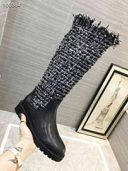 Caldo! Stivali da donna di lusso in stile caldo, stivali invernali firmati da donna, stivali da 14 pollici in stile sfilata di moda, dimensioni: 35-41