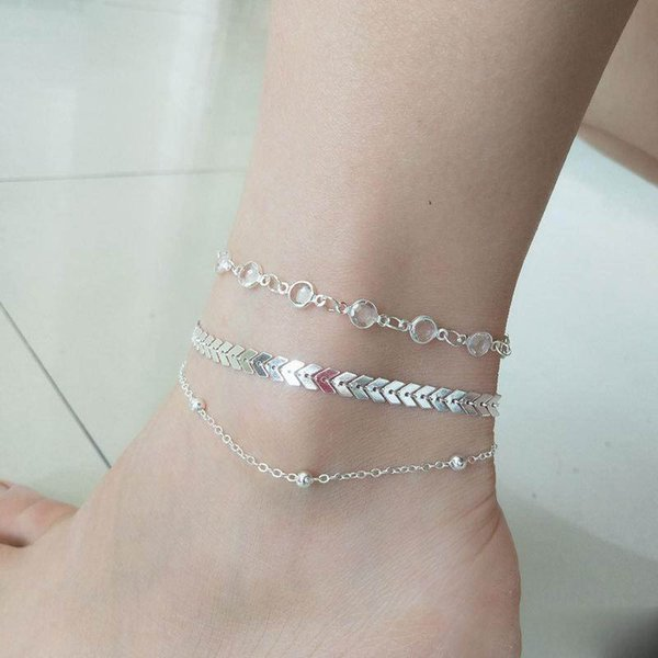 3Pcs/set Crystal Gold Anklet Alloy Multi-layer Foot Chain Summer Beach Bracelet Women Jewelry