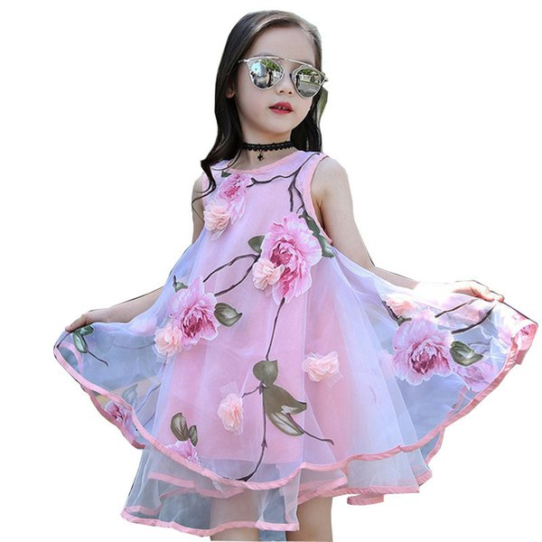 2017 Summer Girls Kids Flower Knee Sleeveless Dress Baby Children Clothes Infant Party Dresses 6 7 8 9 10 11 12 13 14 15 Years Y19061303