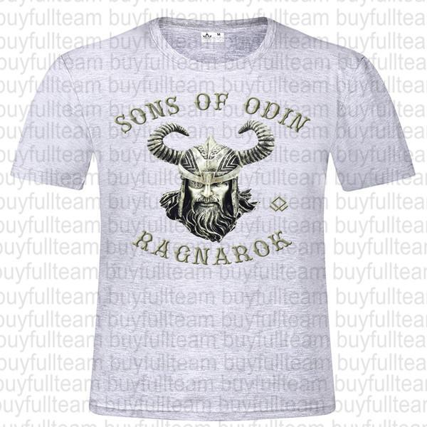 Ragnarok Erkek Gri Kısa Kollu Moda Yuvarlak Yaka T Gömlek boyutu XL S L 2XL 3XL Üst