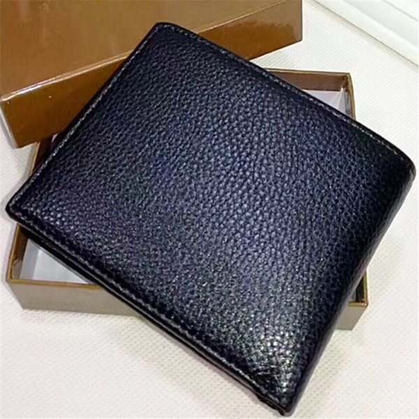Brand Short Bifold Wallets Fashion Purses Solid Color Durable Leather Wallet Gentlemen Ladies Purse Credit Card Business Wallets with Box