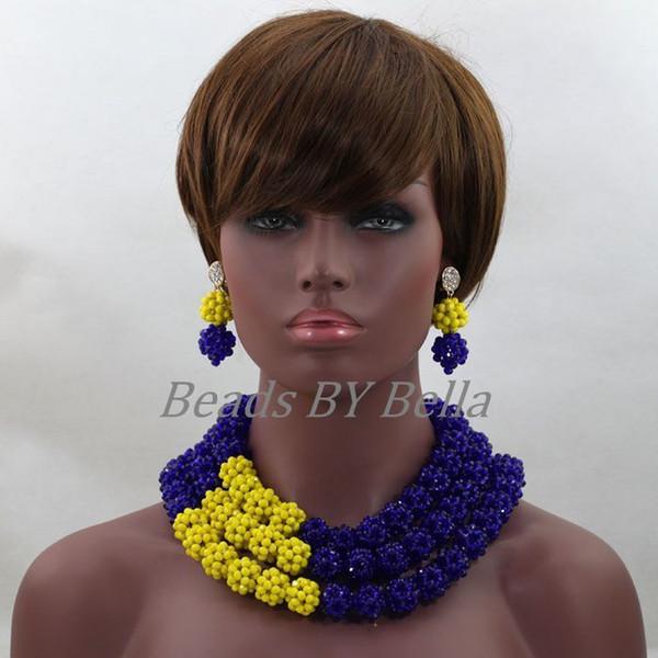 2017 Ultimo Royal Blue / giallo Indiano Set di Gioielli Da Sposa Beads Nigeriano Perline Africane Jewerly Set Spedizione Gratuita Abl263 C19021601