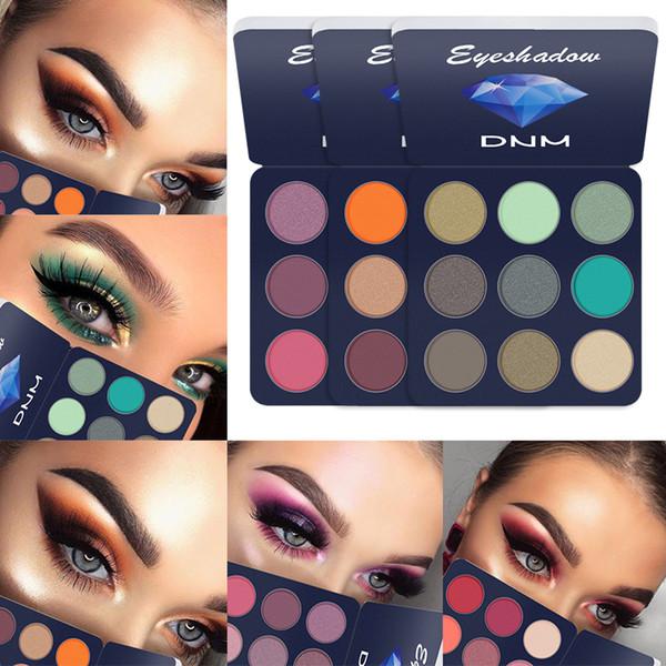 DNM 9 carrés de couleur mat brillant fard à paupières Palette Silky poudre Make Up Pallete cosmétiques Produit fumé / Maquillage chaud style TSLM1