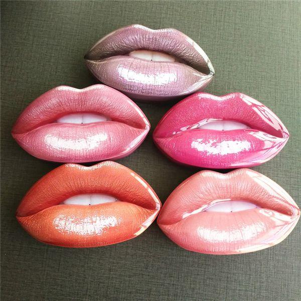 Beauty Mini Lipstick Lip Liner 3pcs un set Lip Shape 4 colores Big Mouth Metal Box Lipgloss 5 sets