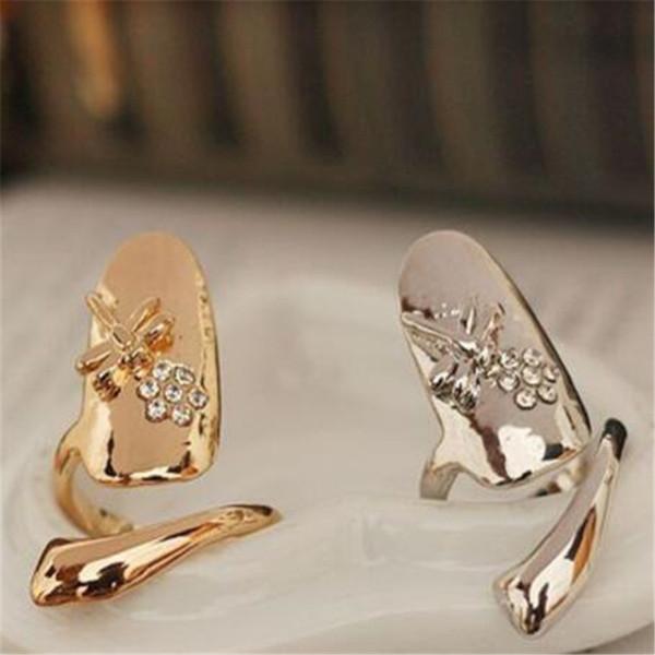 Exquisite Nette Mode Ring Retro Königin Libelle Design Strass Pflaume Ring Schlange Gold Silber Ring Fingernagel Ringe